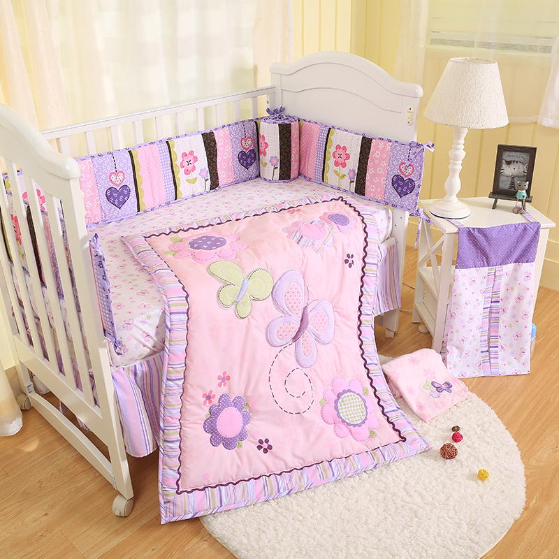 6pcs Purple Butterfly Baby Bedding Set Bed Cover Sheets Bed Skirt Crib Bumper