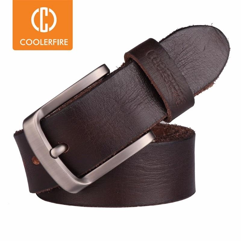 CCOOLERFIRE Men Belt Full Grain 100% Real Genuine Cowskin Top Layer Leather Soft Jeans Cowhide Belts For Men TM053