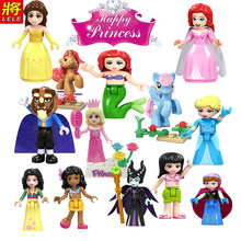 Fairy Tale Legoing Friends Princess Bela Ariel Mermaid Dolls Toys Cinderella White Snow Girls Playmobil Blocks Legoingly Figures(China)