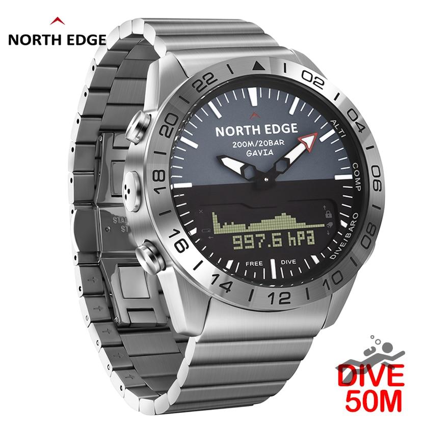 Aço inoxidável relógio de quartzo mergulho militar esporte relógios dos homens mergulho analógico relógio digital masculino do exército altímetro bússola borda norte
