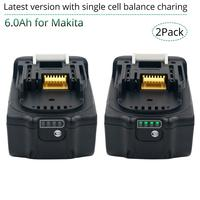 2 pacote 18 v 6000 mah rechargealbe bateria para makita 18 v bl1830b bl1860b bl1840b bl1815 LXT-400 versão mais recente equilíbrio de carregamento