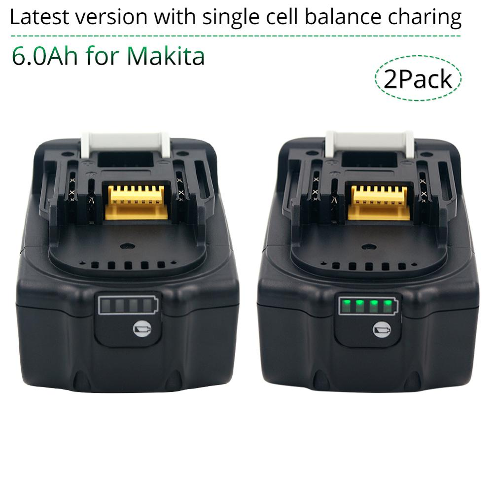 Tüketici Elektroniği'ten Yedek Piller'de 2 paketi 18V 6000mAh şarj edilebilir makita pili 18V BL1830B BL1860B BL1840B BL1815 LXT 400 son sürüm denge şarj