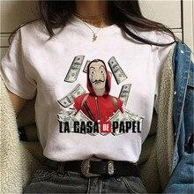 La Casa De Papel T Shirt Women Harajuku BELLA CIAO Letters Print Short Sleeve Funny Money Heist House of Paper Hip Hop Tops Tees