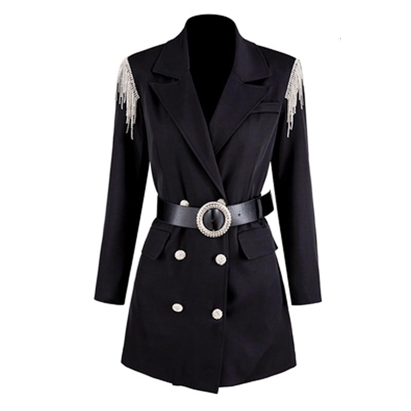 LANMREM 2020 Spring New Rhinestone Tassel Shoulders Double-breasted Suit Jacket Dress Slim Mid-length Suit 19B-a442