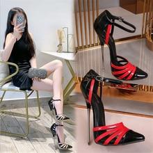 16cm wysokie obcasy sandały damskie duże rozmiary kobieta pompy szpilki pokaż modelowanie Party lato kostki pasek kolor Panel ekstremalne