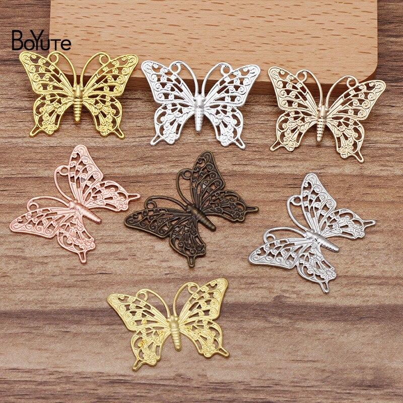 Boyute (50 peças/lote) 25*35mm borboleta metal bronze filigrana descobertas diy feito à mão acessórios de jóias