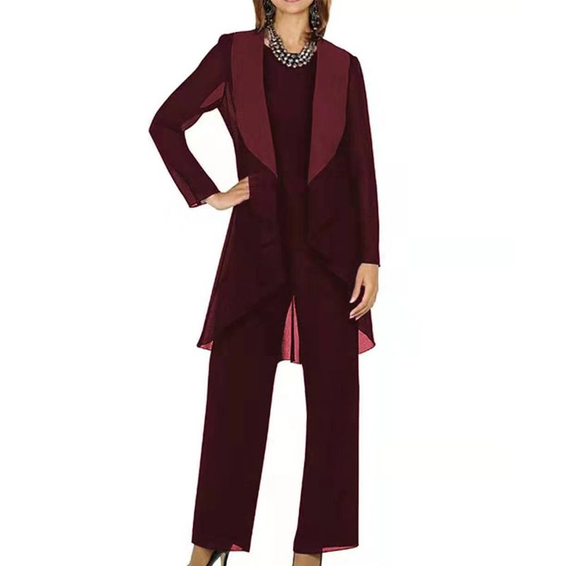 Mother Of The Bride Dresses Elegant Burgundy Grey Chiffon Long Sleeves 2019 Pantsuit 3 Pieces Plus Size Wedding Party Guest Gown