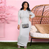 HAOYUAN Sexy Knitted Bodycon Maxi Dress Long Sleeve Hoodies Fall Clothes for Women Outfit Streetwear Birthday Night Club Dresses 4