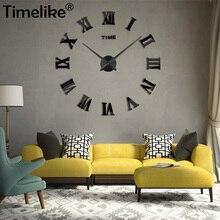 2019 Timelike Mirror 3D Wall Clock Roman Modern Style Home D