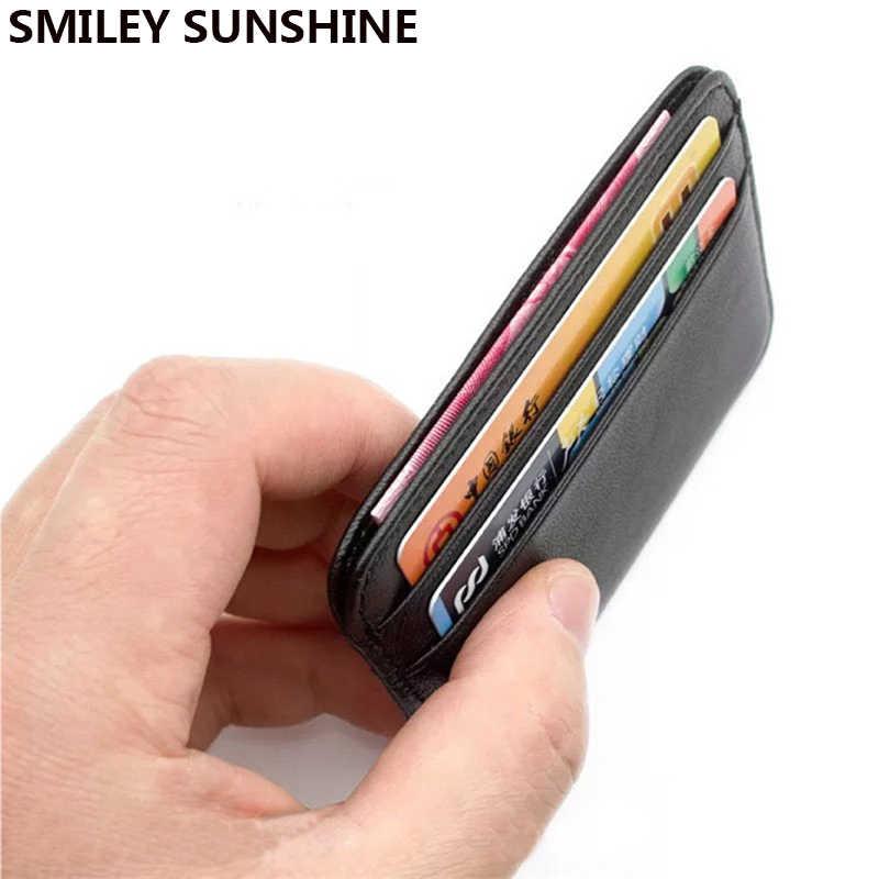 SMILEY SUNSHINE ของแท้หนังผู้ชายผู้หญิงธุรกิจ ID ผู้ถือบัตรเครดิตกรณีกระเป๋าสตางค์สำหรับผู้ถือบัตร Porte carte