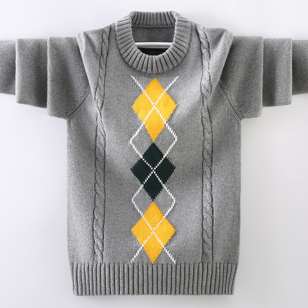boys pullover knitting  Sweater Children's sweater  Winter Children's clothing New  Cotton Clothing Keep warm O-Neck Sweater 2