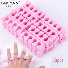 50 unidades/pacote rosa unha arte dedos separadores dedos pés esponja gel macio uv ferramentas polonês manicure pedicure