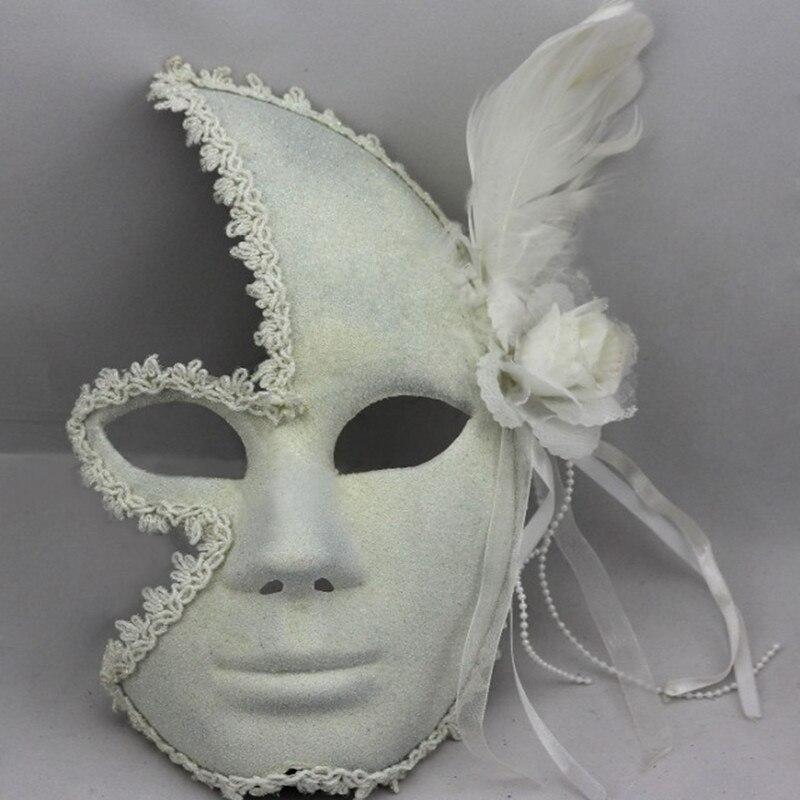 Venetian Masquerade Full Face White Lace Flower Mask Women Costume Mardi Gras