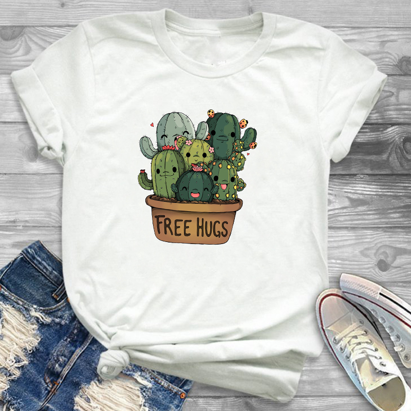 Women Fashion Free Hug Plants Cactus Print Womens Female Graphic T Shirt T-Shirt Streetwear Camisas Tee Shirt Tees T-shirts