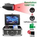 Buscador de peces cámara de pesca submarina HD 1280*720 Screen12 Uds LEDs blancos + 12 Uds CÁMARA DE Lámpara de infrarrojos para pesca 16GB Recoding