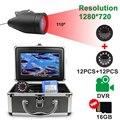 Fisch Finder Unterwasser Angeln Kamera HD 1280*720 Screen12 stücke Weiß LEDs + 12 stücke Infrarot Lampe Kamera Für angeln 16GB Recoding-in Fischfinder aus Sport und Unterhaltung bei