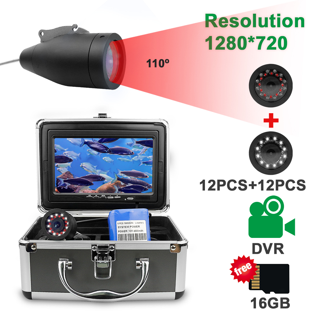 Fish Finder Underwater Fishing Camera HD 1280*720 Screen12pcs White LEDs+12pcs Infrared Lamp Camera For Fishing 16GB Recoding title=