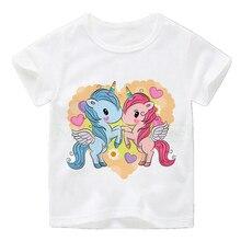 Cute Unicorn Face Design Children Funny T shirt Baby Boys Girls Harajuku Summer White T-shirt Kids Cartoon Clothes Girl Gift