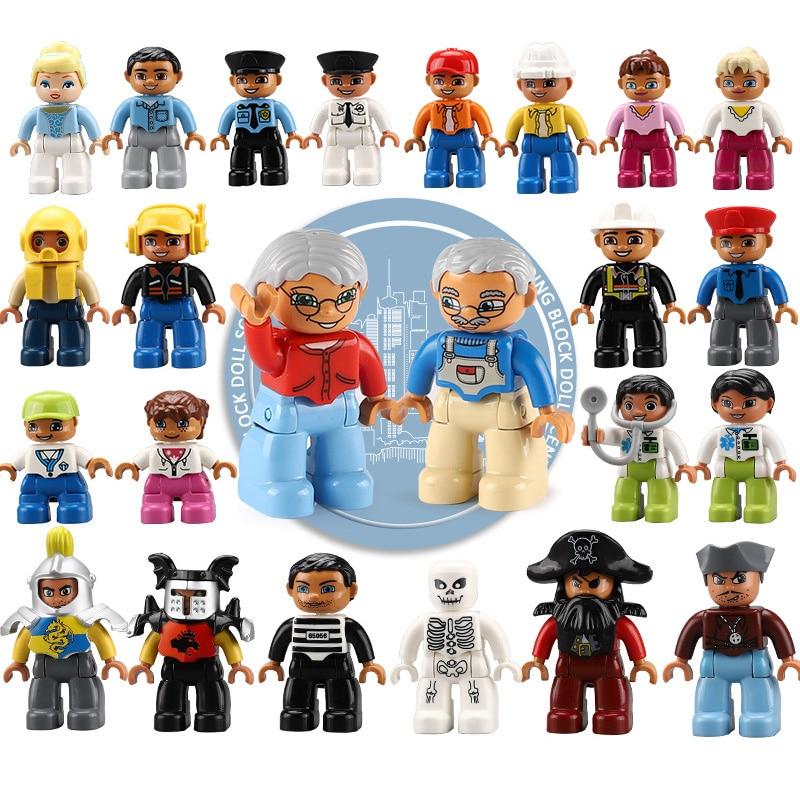 Figurines Duplo simples pompiers bébé voleur policier maman grande taille blocs de construction jouets pour enfants Compatible Duplo Figure bloc