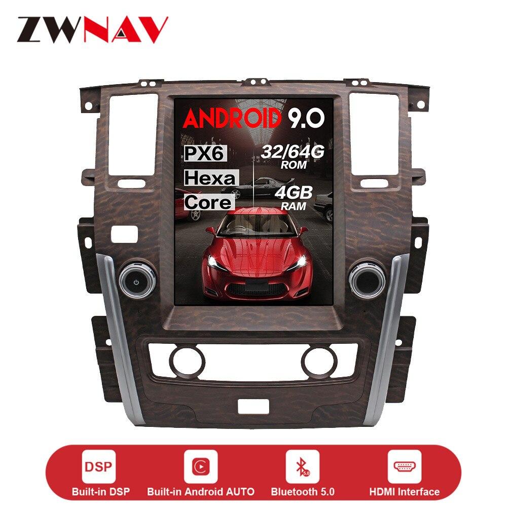 Lecteur multimédia de voiture androïde 9.0 de style de Tesla d'écran vertical pour NISSAN patrouille 2010-2018 GPS carte BT audio radio stéréo unité principale