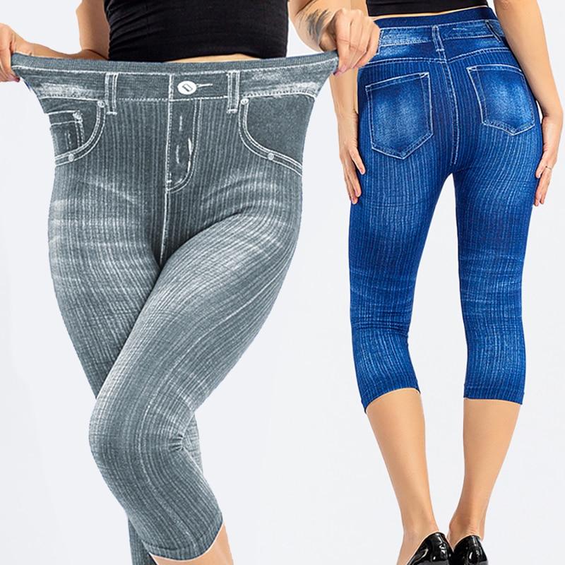 3/4 Leggings Women High Waist Elastic Slim Jeans Leggings Capri Pants Jeggings Female Short Leggings 2020