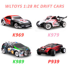 Wltoys 1:28 rtr rc carro 2.4g 4wd 4 channles 30km/h rc drift carro de corrida k969/k979/k989/p939 para a seleção de carro de controle remoto