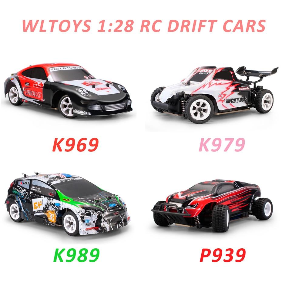 Wltoys 1:28 RTR RC Car 2.4G 4WD 4 Channles 30 KMH Drift RC Carro De Corrida Carro K969/K979 /K989/P939 Para A Seleção Carro de Controle Remoto