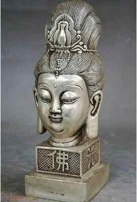 9 Cina Buddhisme Perak Kwan-Yin Patung Kepala Seal Stamp Signet Patung