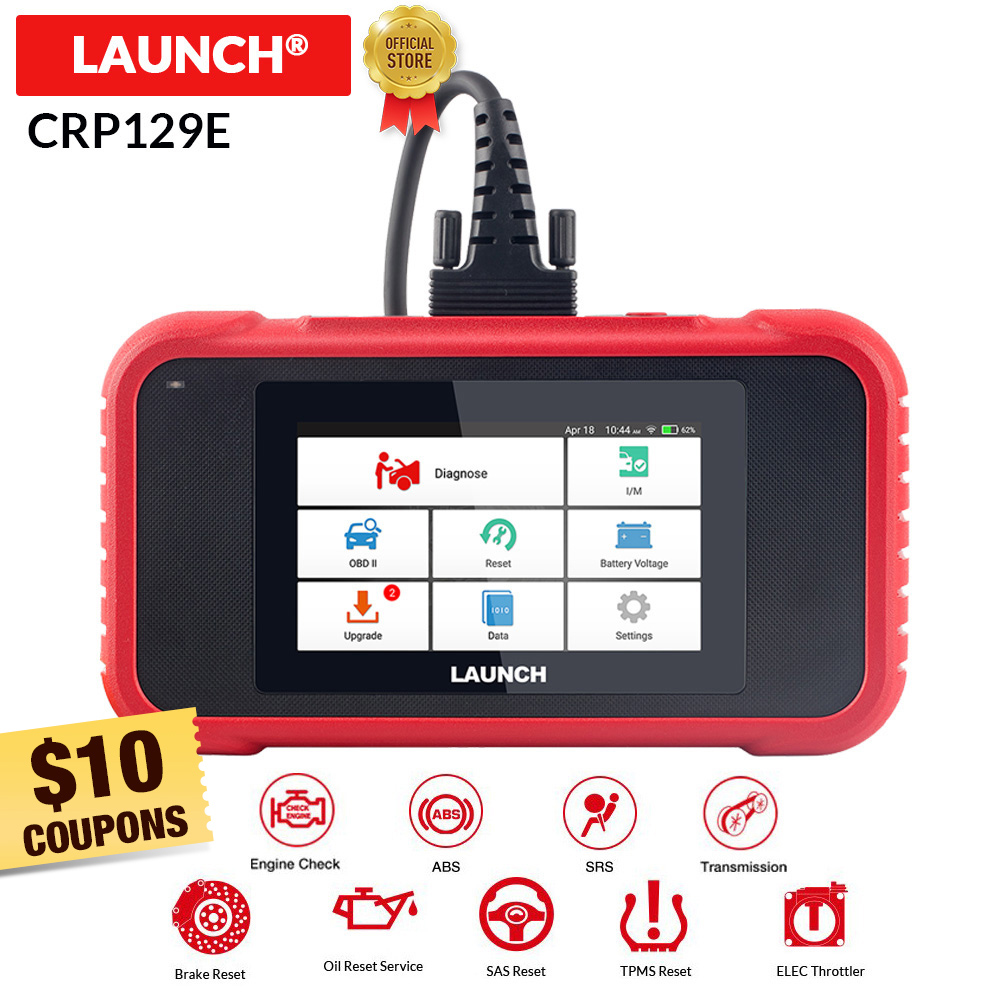 Launch X431 CRP129E OBD2 ENG ABS Airbag SRS AT Diagnostic Oil Brake SAS TMPS ETS Reset OBDII Code Reader Free Update Pk Crp129