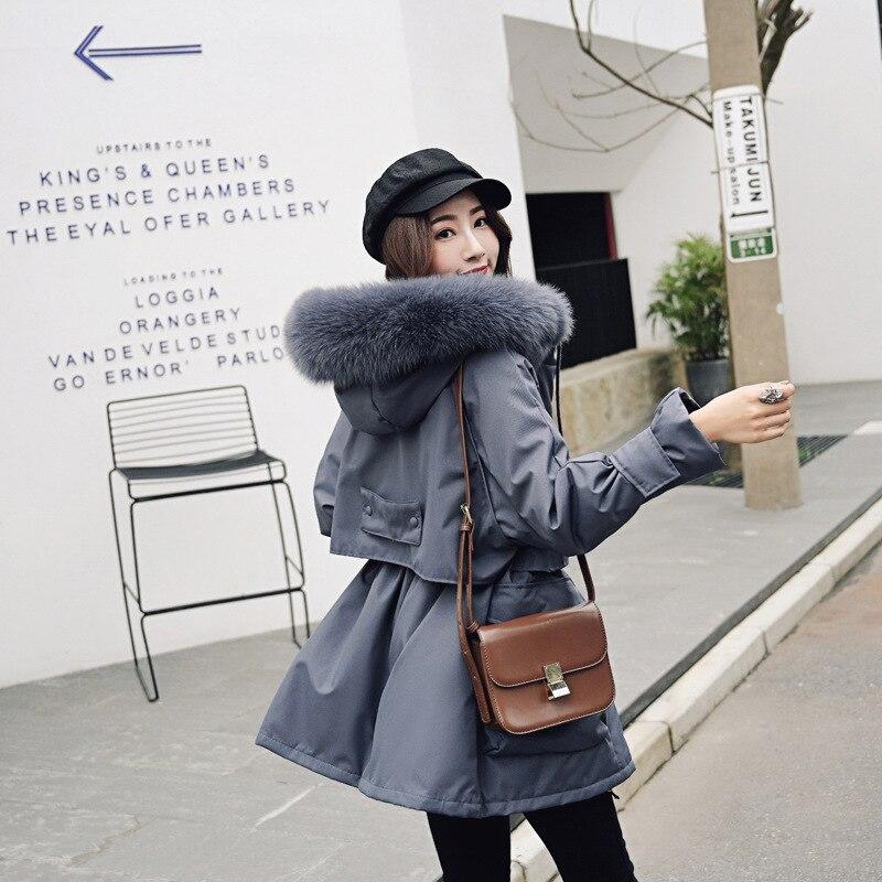 SWYIVY Женская парка, пальто с меховым воротником, теплый длинный дизайн, зима 2018, новое женское повседневное одноцветное пальто размера плюс XL 5XL, женские парки