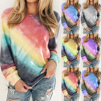 Damska jesień wiosna koszulki z długim rękawem Casual kobiet gradientu cieniowania Bandhnu kwitnące wydrukowane bluzki Plus rozmiar S-5XL WDC4080 tanie i dobre opinie mooclound CN (pochodzenie) Poliester spandex Topy Tees Pełna REGULAR Suknem Drukuj WOMEN NONE Na co dzień O-neck