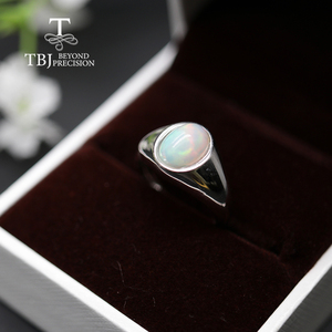 Image 5 - natural Opal Ring oval 7*9mm gemstone women Ring simple elegant fine jewelry 925 sterling silver  tbj promotion