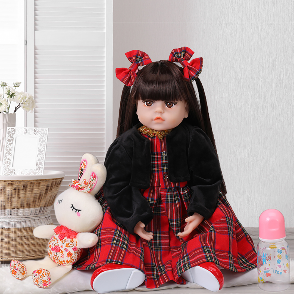 Silicone Soft Reborn Baby Dolls 48CM Realistic <font><b>Princess</b></font> Girl Baby Doll Adorable Ethnic Doll <font><b>Toddler</b></font> Birthday Xmas Gifts For Kids image