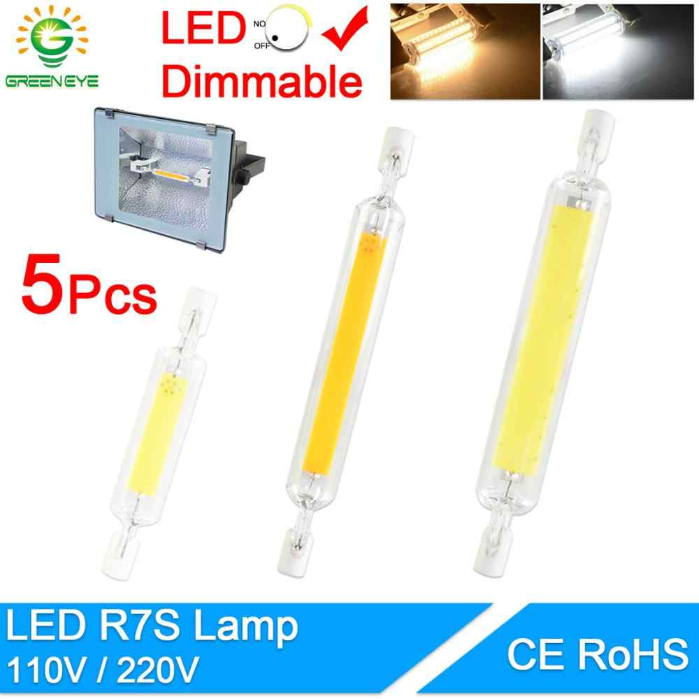 R7S LED Bulb COB Glass Tube 78MM 6W 118MM 15W dimmable bulb Replace Halogen Lamp 80W J118 Lamparda Diode Spot Light AC110V 220V