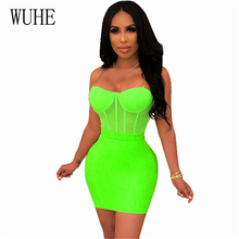 WUHE Summer 2019 New Arrival Sexy Neon Green Dress Women Clothing Spaghetti Strap Mini Great Birthday Party Bandage Dresses