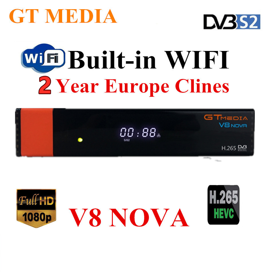 Gtmedia V8 Nova HD Satellite Receiver HD WITH 2 Year Europe Clines Support USA Arabic Portugal UK Android M3u Smart IPTV TV PC
