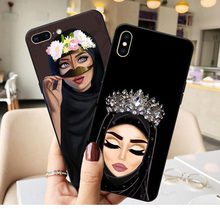 Luxury Woman In Hijab Face Muslim Islamic Gril Eyes Silicone Cover Phone Case for iPhone X SE 5 5S 6 6S Plus 7 8 Plus XR XS MAX(China)