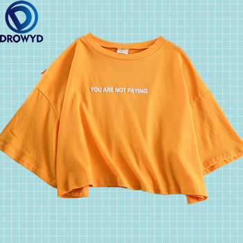 oversized loose casual cartoon print kawaii o neck print t shirt solid color t shirt women s short sleeve letter Summer Loose Tops Oversized T-shirt Women Harajuku Fashion Cotton Orange Letter Print Casual O-neck Tees Short Sleeve T-shirt