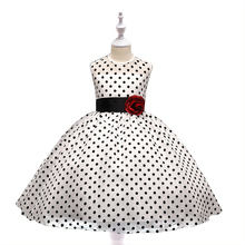 Korean Style Childrens Clothing Dot Pattern Dress Girl Flower Princess Sleeveless O-neck Fashion Kids Dresses for Girls