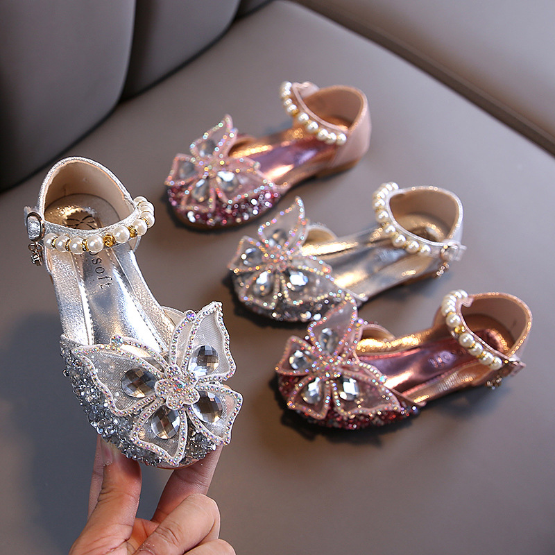 Girls Sequin Lace Bow Kids Shoes Girls Cute Pearl Princess Dance Single Casual Shoe 2021 New Children's Party Wedding Shoes D721