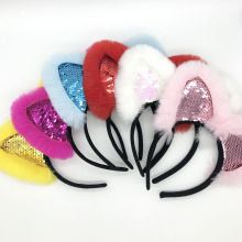Lovely Hairband New Fashion Cute Children Sequined Rabbit Ears Headband Funny Plush Hair Band For Festival Soft