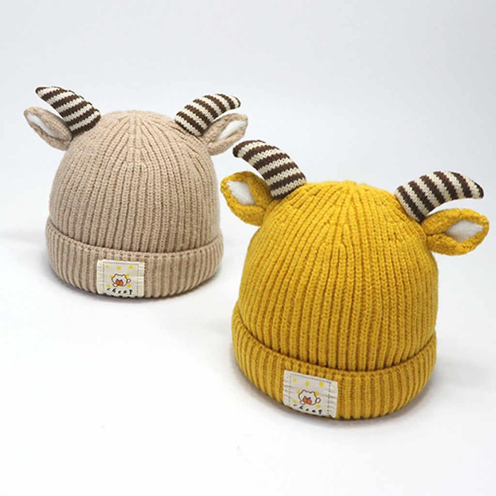 เด็กฤดูหนาวหมวกเด็ก Beanie หมวกเด็กทารกเด็กวัยหัดเดินเด็กน่ารักผ้าฝ้าย Antler ถักหมวกเด็ก Solid หมวก 5 M-5 T