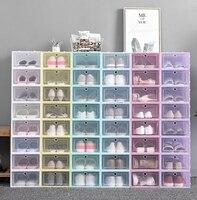 12-24 pçs caixa de sapato conjunto de armazenamento dobrável plástico porta clara casa armário organizador caso prateleira pilha exibição eua ca & nj entrega