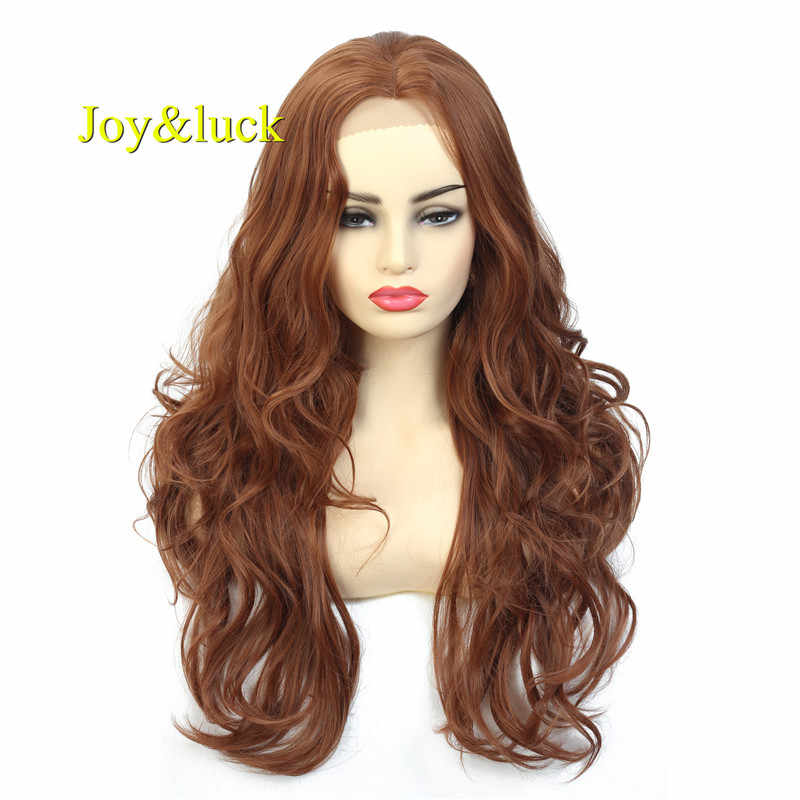 Joy&luck Long Brown Wig Lace Front Synthetic Wigs for Women Natural Wave Costume Party Wig
