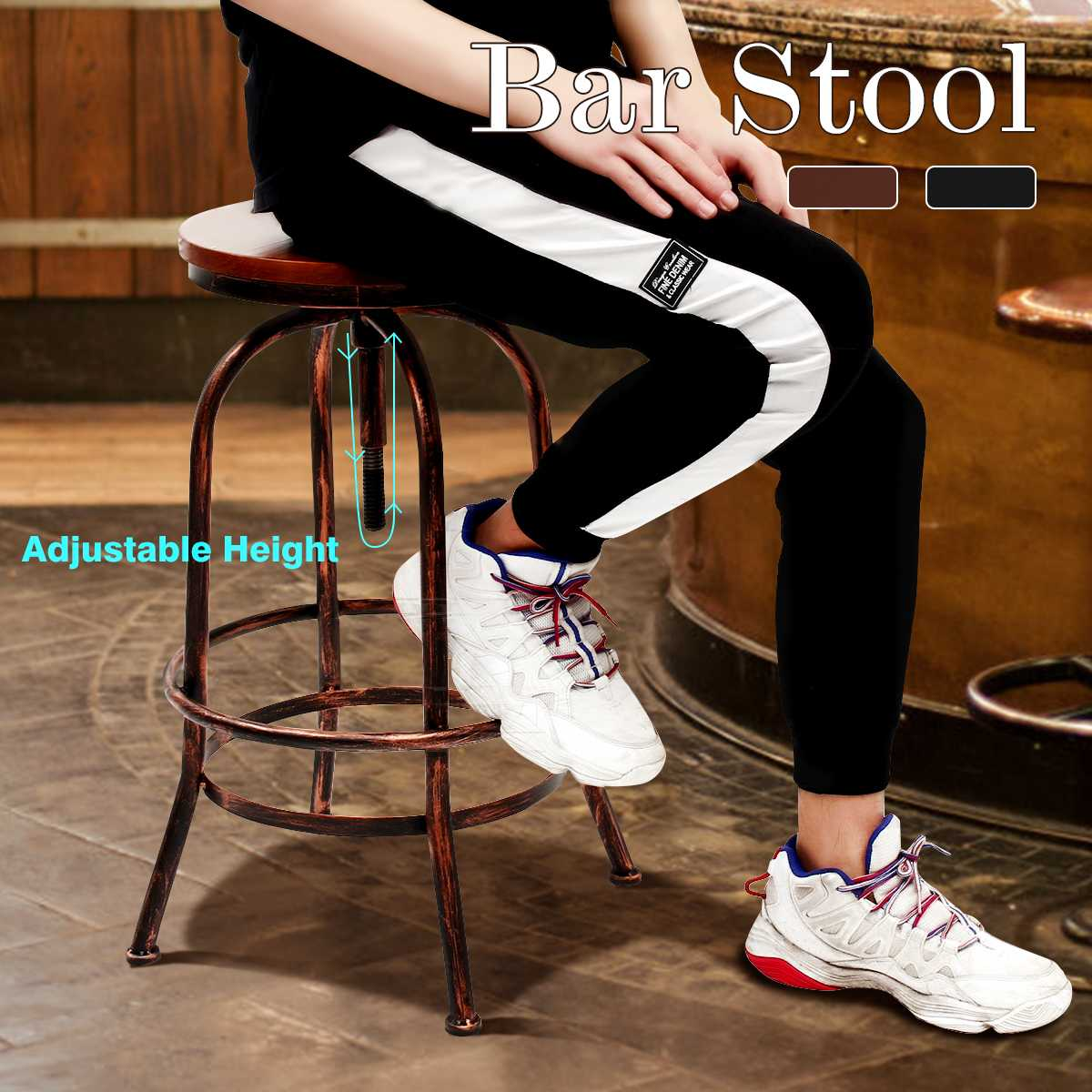 Vintage Bar Stool Industrial Modern Retro Solid Wood Seat Bar Chair Adjustable Height High Stool Kitchen Dining Chair Decoration