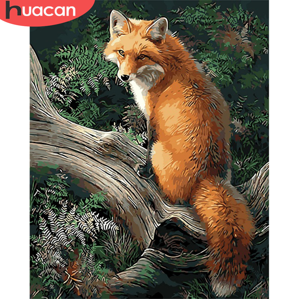 HUACAN Oil Painting By Numbers Fox Animals Kits Pictures Drawing Canvas HandPainted DIY Home Decoration Gift