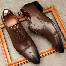 QYFCIOUFU Oxford Men Dress Shoes Formal Business Lace-up Full Genuine Leather Minimalist Shoes For Men Fashion Men Shoes Wedding qyfcioufu new genuine leather men s dress shoes handmade office business wedding weave luxury lace up formal oxfords mens shoes