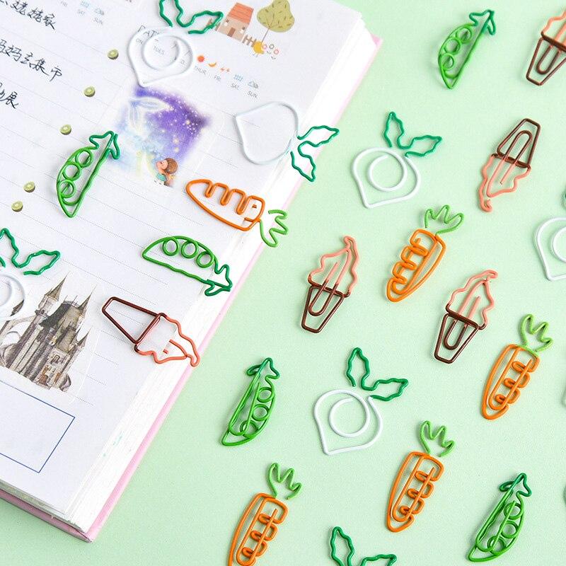 cartoon bonito cenoura ervilha sorvete memorando clipes mini metal criativo escritorio clipes de papel 100 pcs
