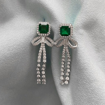 OEVAS 100% 925 Sterling Silver Drop Earrings For Women Sparking Created Moissanite Emerald Gemstone Diamonds Party Fine Jewelry