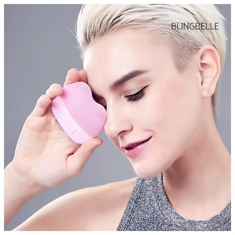escova limpeza facial escova f cial silicone ultrasonic face skin maquina de limpeza facial Gatinho